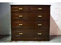 Victorian Mahogany Chest Of Five Drawers (DELIVERY AVAILABLE)