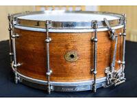 Vintage snare drum - Very rare Ludwig & Ludwig 'Super Ludwig' solid mahogany 15x61/2 - circa 1925