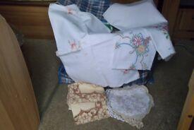 Huge bag of assorted vintage items, linens, gloves, tea tins ect.