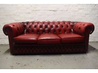 chesterfield three seater sofa (DELIVERY AVAILABLE)