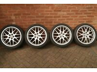 """Set of 18"""" BBS alloys with used 225/40R18 tyres, fit Jag X-type or Mondeo Mk3- excellent condition."""
