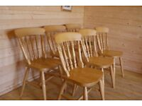 6 Solid sturdy beech / pine wood wooden dining kitchen chairs