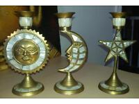 Candle holders in mother of pearl