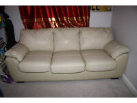 Double sofa bed (cream leather)