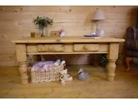 Very rustic solid waxed pine wood large Coffee table with drawers media unit