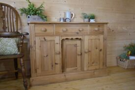 Rustic Farmhouse solid waxed pine sideboard dresser cupboard cabinet chest Unit