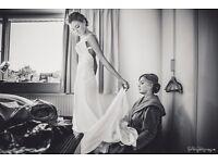 Wedding Dress, Backless, Size 6-8, Bra imbedded into dress size DD