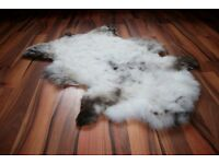 New Luxurious Organic Sheepskin Rug White With Spots L/XL