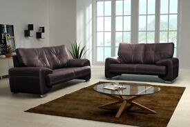 Fix sofa 3 and 2 seater black or chocolate/dark brown modern design pu leather