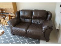 Barker & Stonehouse Leather Three piece Suite sofa armchair & Footstool
