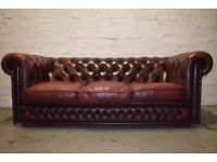 Antique Red Leather Chesterfield Three Seater Sofa With Club Chair (DELIVERY AVAILABLE)