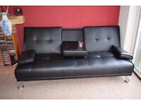 Manhattan Modern Faux Leather Sofa Bed