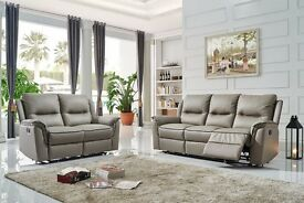 New High Grade 100% Leather 3+2 Reclining Sofa Settee Genuine Couch Set Brown, Grey or Cream
