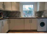 Cream kitchen units plus Indesit double oven, gas hob and Hoover HBOP 3780/1 Integrated Fridge White