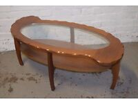vintage coffee table with glass insert (DELIVERY AVAILABLE)