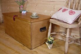 Antique large Solid waxed pine chest trunk ottoman storage box coffee table..