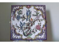 FRAMED 9 TILE PICTURE PANEL DEPICTING FLOWERS AND BIRDS