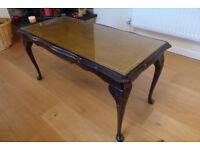 For Sale £10.00 Dark wood , Glass top Coffee Table.