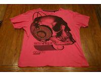 Mens Cedar Wood State Skull T-Shirt Medium (Pink/Black)