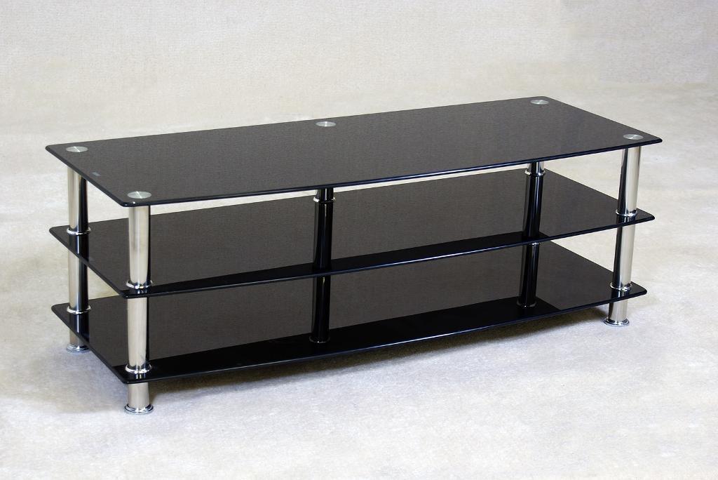 large black glass tv unit brand new - Black Glass