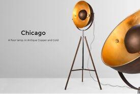 Stunning MADE WAYFAIR Chicago floor lamp in gold brass copper