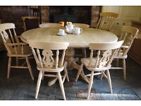 Quality beautiful solid waxed farmhouse pine table & 6 fiddleback chairs, 2 are carvers