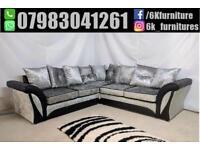 **25% off ** NEW CRUSH VELVET SHANNON 3+2 seater sofa corner sofa