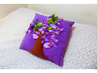 Handmade purple wish-tree pillow