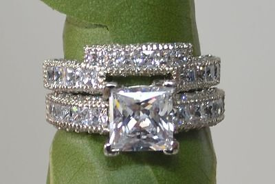 Cut Diamond Ring Band -  3.50CT PRINCESS CUT DIAMOND ENGAGEMENT RING & BAND SOLID 14K SOLID WHITE GOLD