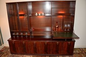 MEREDEW wall / display cabinet with drop down drinks cabinet.