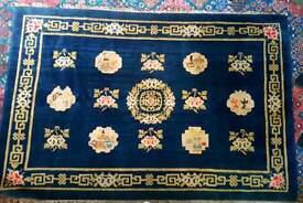 Stunning wool handmade antique dark Prussian blue oriental rug
