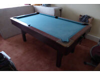 Snooker BCE sturdy foldable table plus 3 cues and two sets of balls