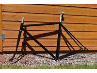 Steel bicycle frame in black