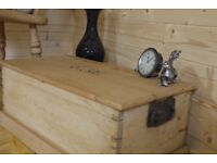 Beautiful rustic antique solid raw pine chest, trunk storage box, toy box.