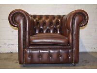 Antique Brown Leather Chesterfield Club Chair (DELIVERY AVAILABLE)