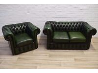 Antique Green Leather Chesterfield Sofa with Club Chair (DELIVERY AVAILABLE)