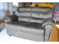 TWO SEATER SOFA FINISHED IN MID GREEN MICRO FIBRE