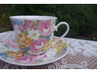 Petite Fleur by Roy Kirkham Fine Bone China 1993 Floral Cup and Saucer