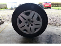 Set of four Toyota 16 inch Steel Wheels with tyres and wheel trims and wheel nuts