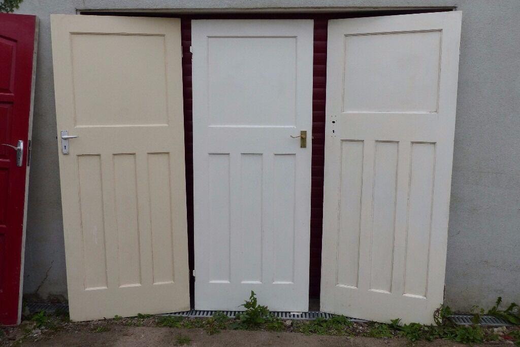 Three Genuine Solid Wood 1950s Interior Doors In Plymouth Devon