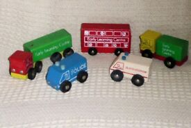 5 Toys / Models of Vintage ELC Wooden Vehicles, Bus, 2 Lorries, Police & Ambulance, Histon