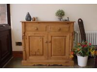 Farmhouse rustic solid waxed pine sideboard cabinet cupboard dresser unit