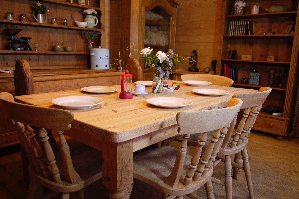 Farmhouse Rustic Solid Waxed Pine Table And Chairs With Antique Church Pew Bench In Selby North Yorkshire Gumtree