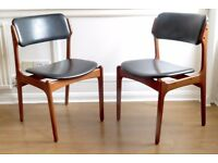 Very rare Set of 6 Vintage Danish Erik Buch model 49 teak chairs. Delivery. Modern / Mid-century.