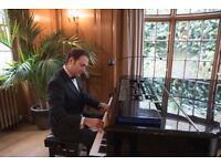 Pro Pianist for weddings & events with piano shell