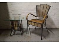 Bamboo chair with side table (DELIVERY AVAILABLE)