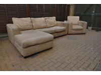 Cream corner sofa and armchair