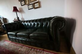 Green Chesterfield Three Seater Sofa, less than 3 years old, beautiful condition!