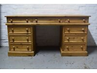 pine pedestal desk (DELIVERY AVAILABLE)