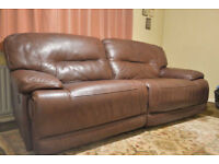 Leather Sofa (Motorised) Excellent Condition